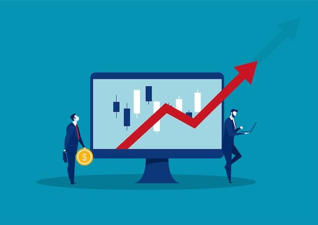 Zakenman die rode pijl kijkt opgroeit de illustratie van het investeringsconcept