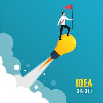 Zakenman die rode vlag houdt die zich op het concept van het gloeilampenidee houdt. idee voor succesillustratie lanceren.