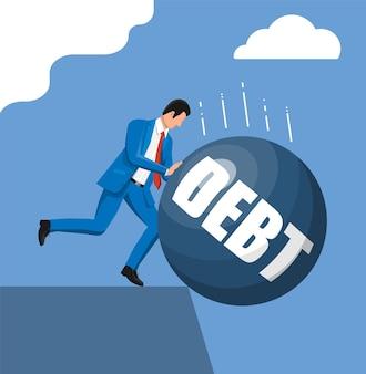 Zakenman die schuldgewicht naar buiten duwt. grote zware schuldenlast budren en zakenman in pak. belastingdruk, financiële criminaliteit, vergoeding, crisis en faillissement. vectorillustratie in vlakke stijl