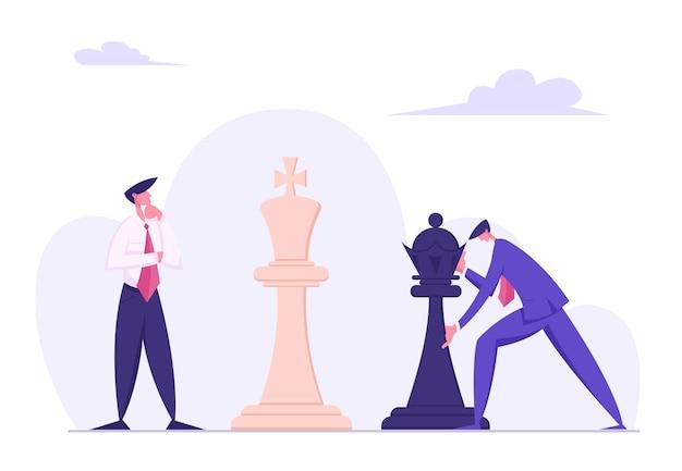 Zakenman die strategisch schaken beweegt met zwarte koning stuk vlakke afbeelding