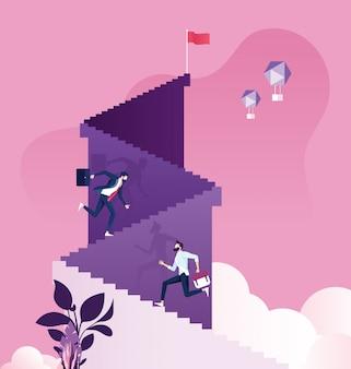Zakenman die trap aan bergpiek lanceren. zakelijk succes vector concept.