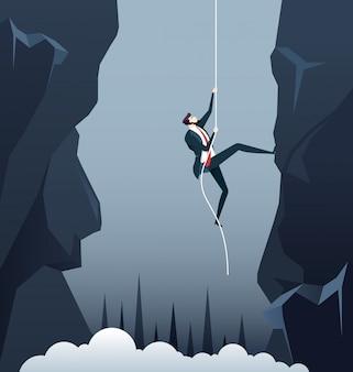 Zakenman die uitdagingen in bedrijfsconcept overwint