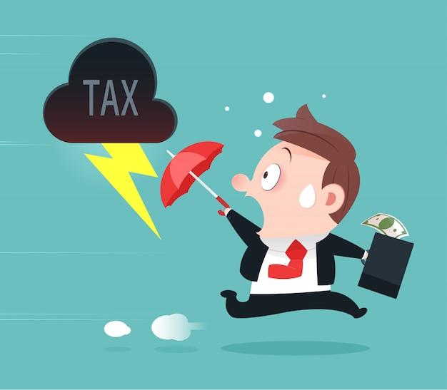 Zakenman die vanaf belasting, belastingvermijding, beeldverhaal ontwerp-vector en illustratie weglopen