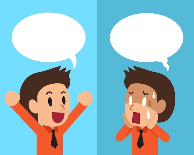 Zakenman die verschillende emoties uitdrukt