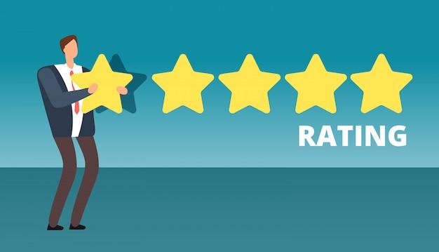Zakenman die vijfsterrenrang geeft. beste werkkwaliteit en klantenservice feedback vector concept