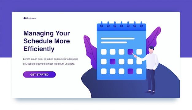 Zakenman die werktijdschema in kalender plannen