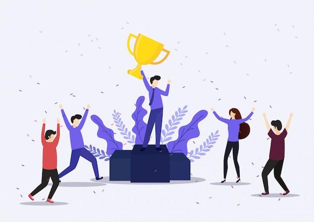 Zakenman die winnende trofee houdt. overwinning concept.