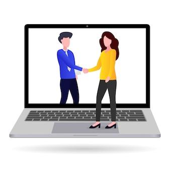 Zakenman die zakelijke transacties doet vanaf laptops