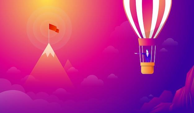 Zakenman die zich op ballon bevindt