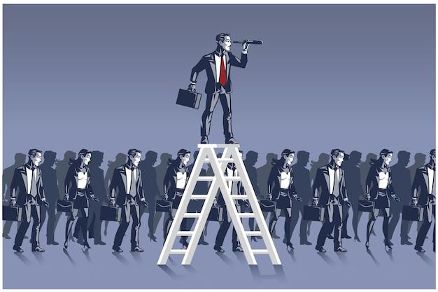Zakenman die zich op ladder bevindt die vooruit kijkt met behulp van verrekijker bedrijfsillustratieconcept