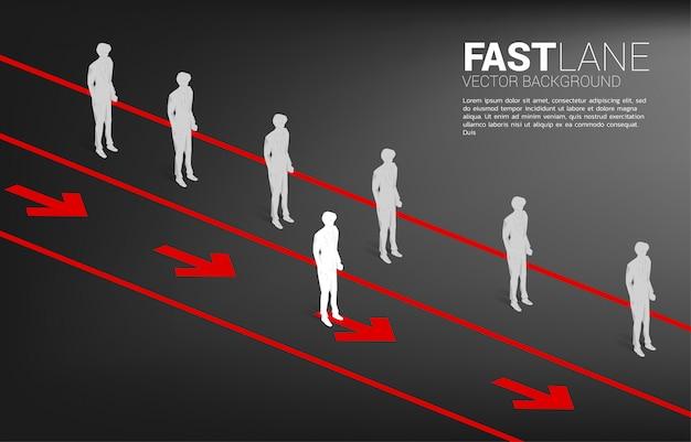 Zakenman die zich op snelle rijstrook bevindt, beweegt sneller dan groep in wachtrij. businessconcept van snelle rijstrook voor verplaatsen en verstoring.
