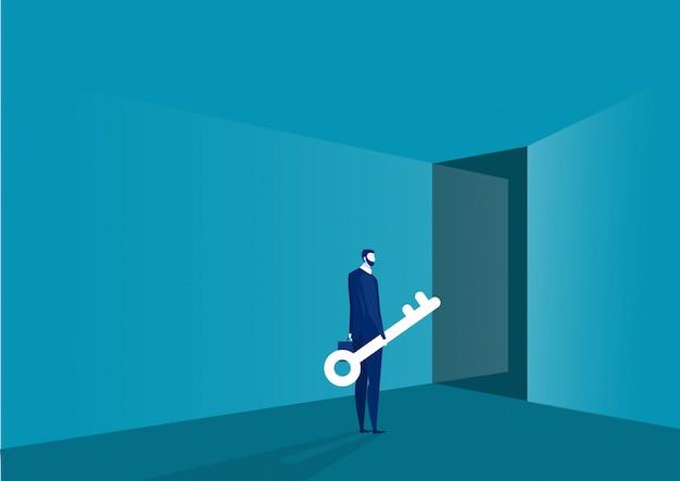 Zakenman die zich voor deur bevindt die grote sleutel houdt. oplossing voor succesconcept