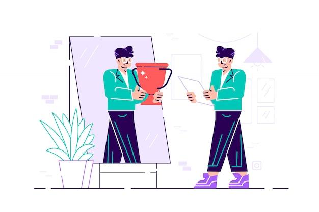 Zakenman die zich voor een spiegel bevindt die haar gedachtengang bekijkt en zich succesvol voorstelt. bedrijfsconcept. vlakke stijl modern design illustratie voor webpagina, kaarten, poster, banner
