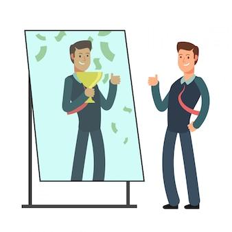 Zakenman die zichzelf gelukkig en succesvol in spiegel reflectie. succes in zaken en winnaar