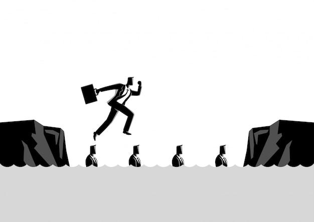 Zakenman die zijn vrienden gebruiken als springplanken