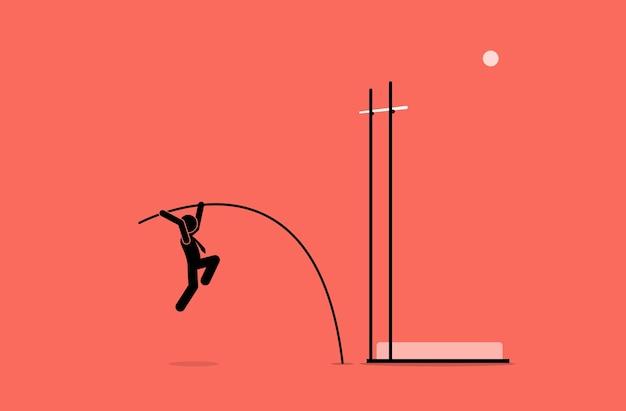 Zakenman doet polsstokhoogspringen. kunstwerk toont carrière, uitdaging, doel, missie, ambitie en missie.