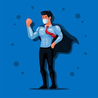 Zakenman draagt masker en cape klaar om te werken in nieuwe normale avatar illustratie vector