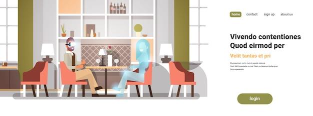 Zakenman dragen digitale bril communiceren met virtual reality vrouw vr visie