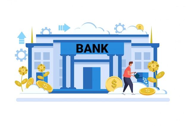 Zakenman drenken dollar plantengroei rijkdom investering concept bankgebouw buitenkant