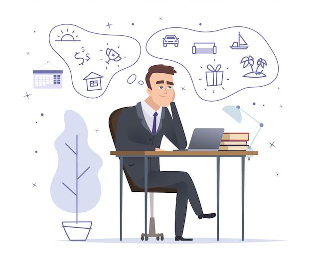 Zakenman dromen. succesvolle officemanager zitten en denken over huis auto en trofeeën vector stripfiguur