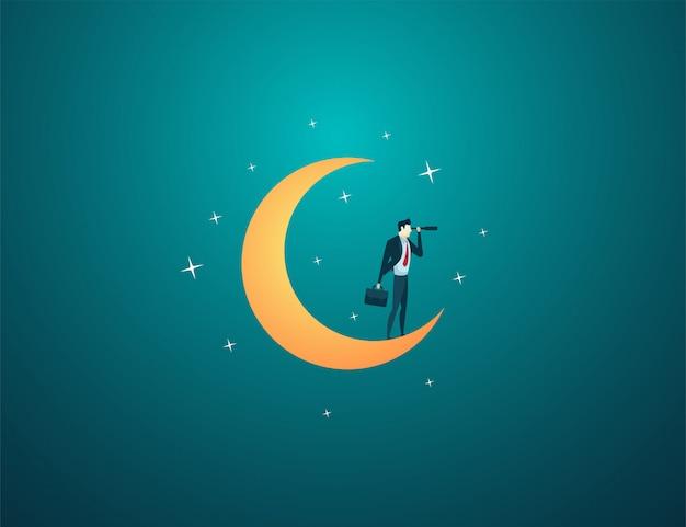 Zakenman droom staan maan kijken gebruik telescoop