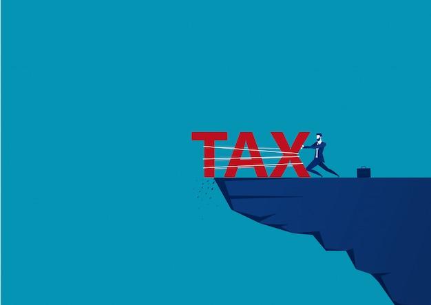 Zakenman duw het woord belasting vanaf de top van de heuvel. vector illustratie