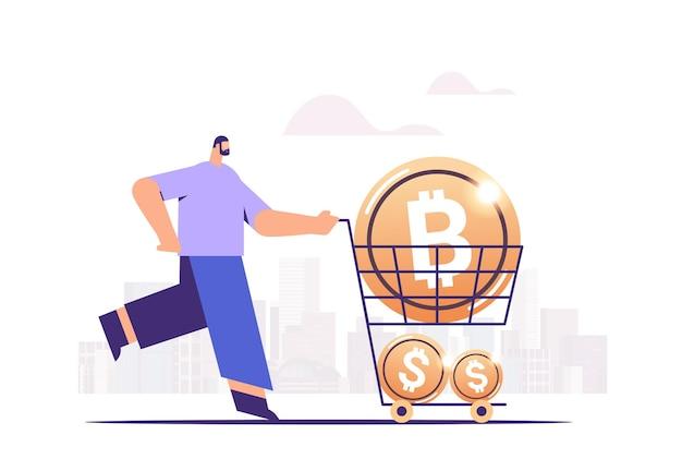 Zakenman duwen karretje kar met gouden munten cryptocurrency mijnbouw virtueel geld digitale valuta concept volledige lengte horizontale vectorillustratie