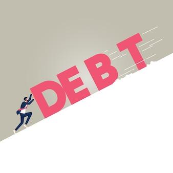 Zakenman duwen tegen enorme tekst gespelde schuld op helling metafoor financiële verplichtingen