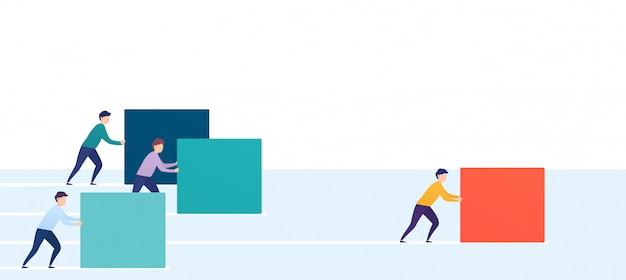 Zakenman duwt een rode kubus of doos, concurrenten inhalen. concept van winnende strategie, bedrijfsefficiëntie, leiderschap.