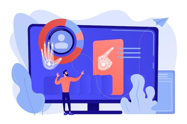 Zakenman en computer herkennen en interpreteren menselijke gebaren als bevelen. gebarenherkenning, gebarenopdrachten, handsfree bedieningsconcept