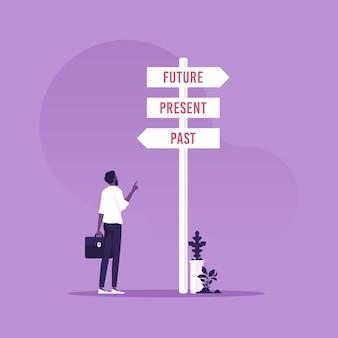Zakenman en een wegwijzer pijlen met drie verschillende opties verleden huidige en toekomstige koers