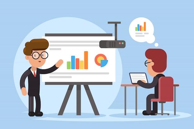 Zakenman en grafieken op het projectiescherm. presentatie concept, seminar, training, conferentie