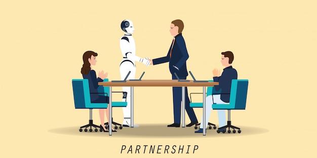 Zakenman en kunstmatige intelligentie robot handshaking tijdens het voldoen aan overeenkomst partnerschap.