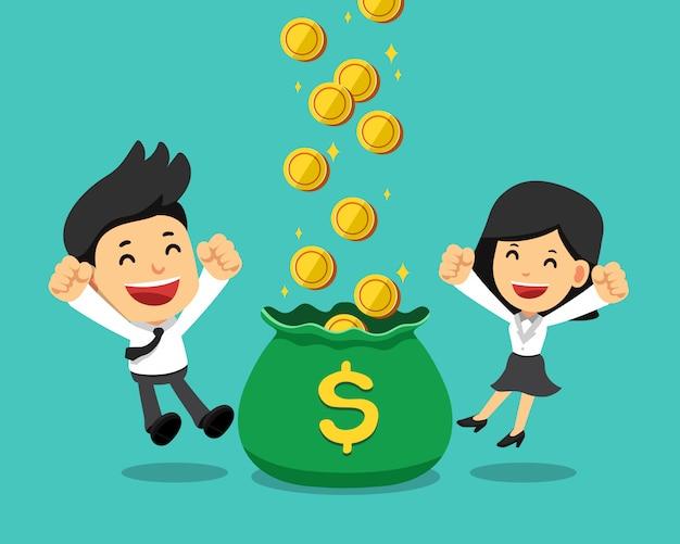 Zakenman en onderneemster die geld samen verdienen