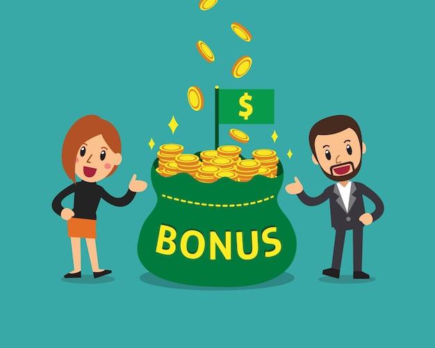 Zakenman en onderneemster met de grote zak van het bonusgeld