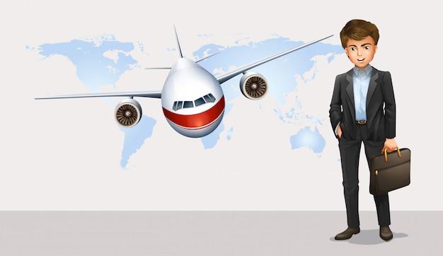 Zakenman en vliegtuig die op achtergrond vliegen