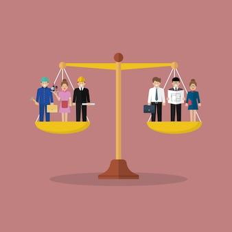 Zakenman en zakenvrouw balanceren op schalen