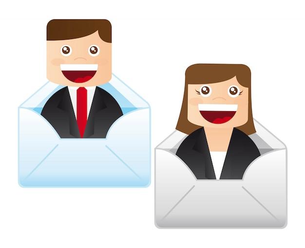 Zakenman en zakenvrouw binnen envelop vector