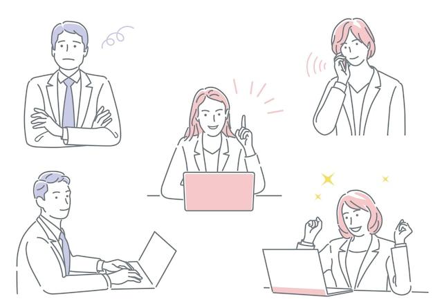 Zakenman en zakenvrouw die in hun kantoor werken en verschillende emoties uitdrukken