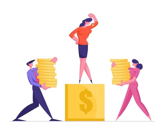 Zakenman en zakenvrouw dragen stapels gouden munten naar voetstuk met zakenvrouw