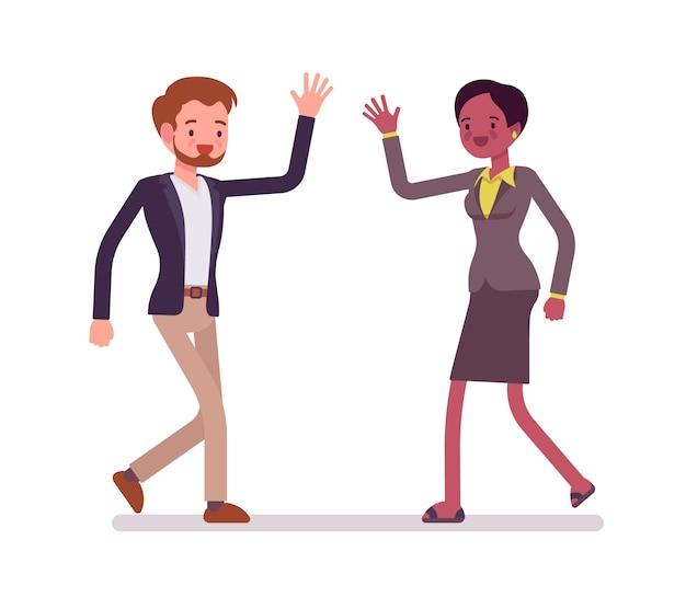 Zakenman en zakenvrouw groet