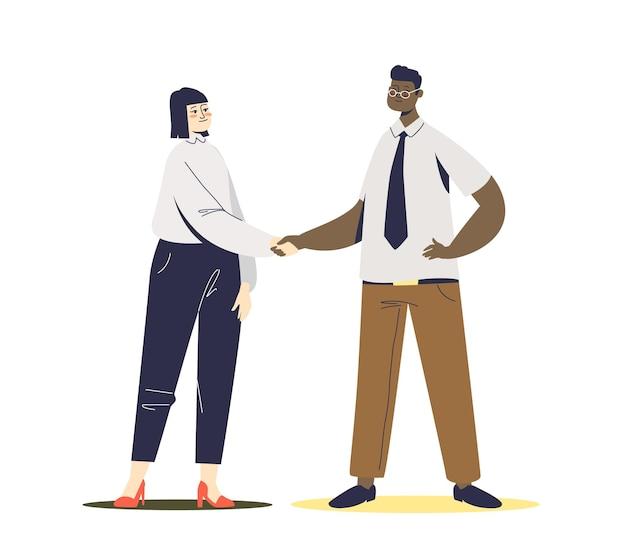 Zakenman en zakenvrouw handen schudden. nieuwe partners geven handdruk of boegeroep bij het begroeten van nieuw aangeworven vrouwelijke werknemer. samenwerking bedrijfsconcept.