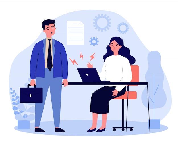 Zakenman en zakenvrouw met gebroken laptop