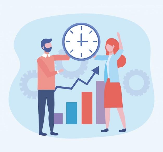 Zakenman en zakenvrouw met klok en statistieken bar
