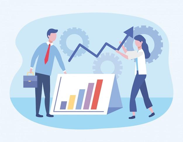 Zakenman en zakenvrouw met statistieken bar en versnellingen