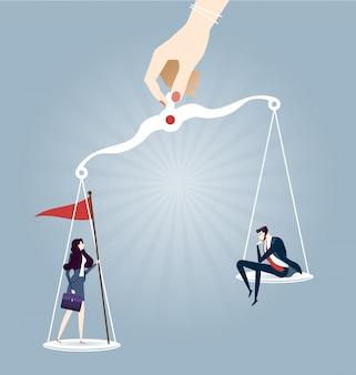 Zakenman en zakenvrouw op schalen