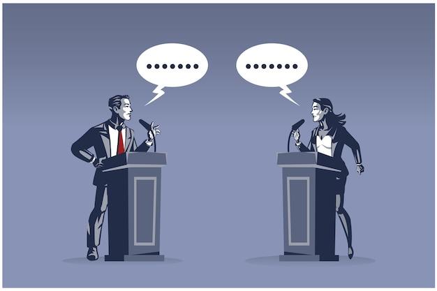 Zakenman en zakenvrouw permanent op podium met debat over zakelijke aangelegenheden illustratie concept