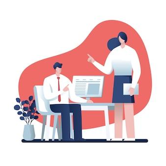 Zakenman en zakenvrouw praten over werk in het kantoor, characterdesign, online business
