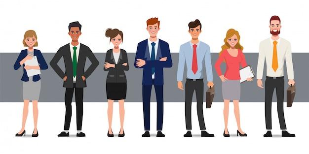 Zakenman en zakenvrouw stripfiguur op witte achtergrond. teamwork conceptontwerp.