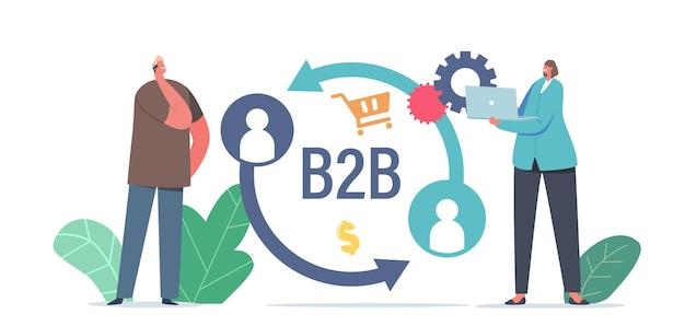 Zakenman en zakenvrouw tekens business to business marketingstrategie, b2b oplossing concept. online partnerschap en overeenkomst, partnerschapssamenwerking. cartoon mensen vectorillustratie